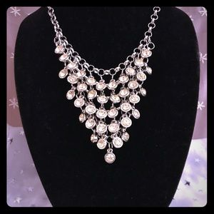 Gorgeous white rhinestone bib necklace